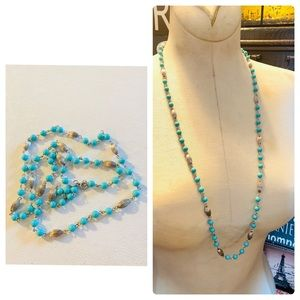 """Sarah Coventry Turquoise & Silver Necklace 30"""""""